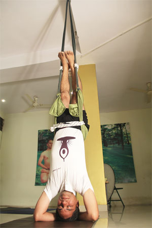 Vishramasana with Ropes and Weights